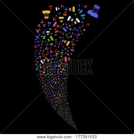 Army General random fireworks stream. Vector illustration style is flat bright multicolored iconic symbols on a black background. Object fountain combined from scattered design elements.
