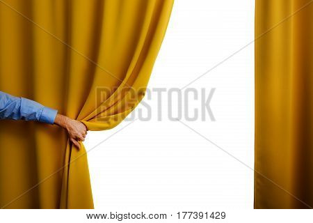 hand open yellow curtain on white background