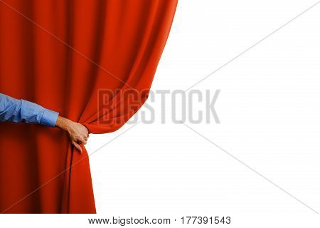hand open red curtain isolated on white