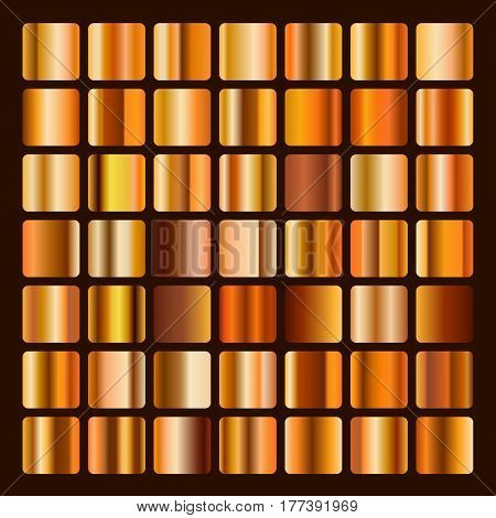 Collection metallic bronze and golden gradient illustration. Set bronze and gold gradients. Golden bronze squares collection. Bronze background texture.
