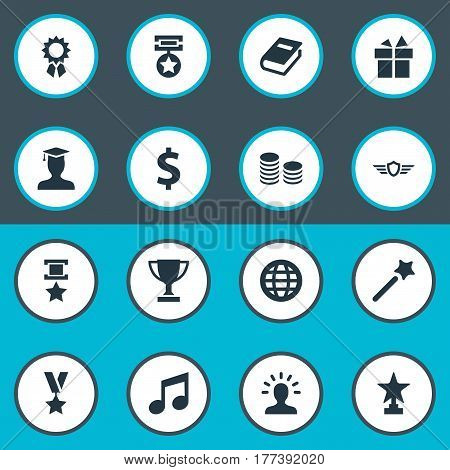 Vector Illustration Set Of Simple Awards Icons. Elements Prize, World, Present And Other Synonyms Book, Gift And Winner.