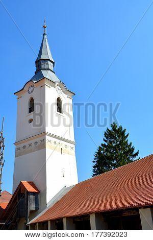 Fortified medieval saxon church in the village Dirjiu, Transylvania