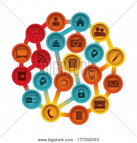 buttons apps connections techonology, vector illustration design