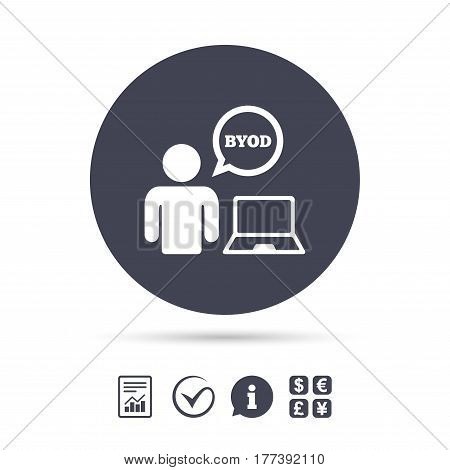 BYOD sign icon. Bring your own device symbol. User with laptop and speech bubble. Report document, information and check tick icons. Currency exchange. Vector