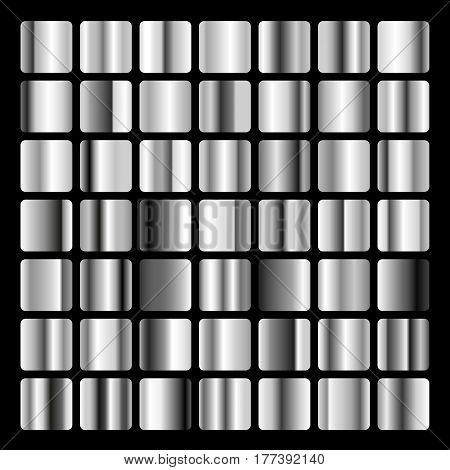 Collection metallic and Silver gradient illustration. Set Silver gradients. Golden squares collection. Silver background texture.