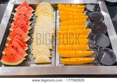 Fresh fruit , pineapple ,cantaloupe and watermelon