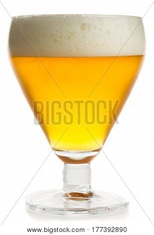 Glass of lager beer isolated on a white background