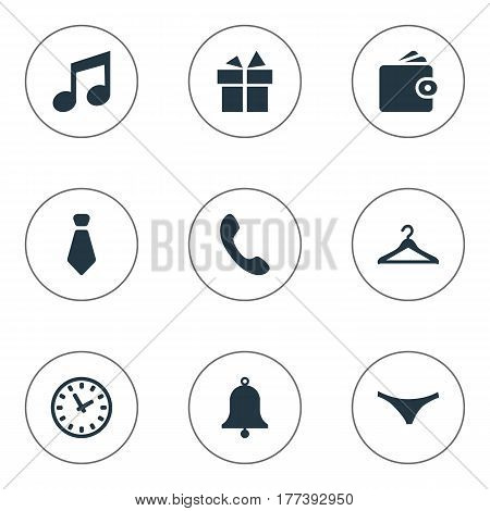 Vector Illustration Set Of Simple Accessories Icons. Elements Ring, Billfold, Hanger And Other Synonyms Purse, Music And Watch.
