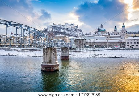 Old Town Of Salzburg With Salzach River At Sunset In Winter, Austria