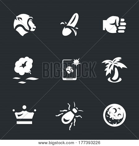 Macaques, banana, fist, hot water, selfie, palm, crown, lice, planet.