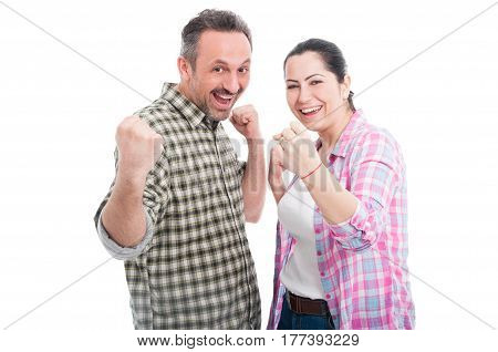 Young Attractive Couple Cheering Together