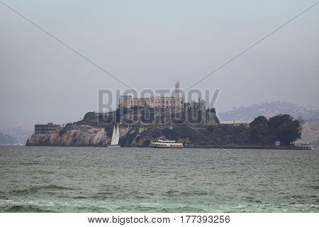 A view towards Alcatraz Island from the San Francisco mainland