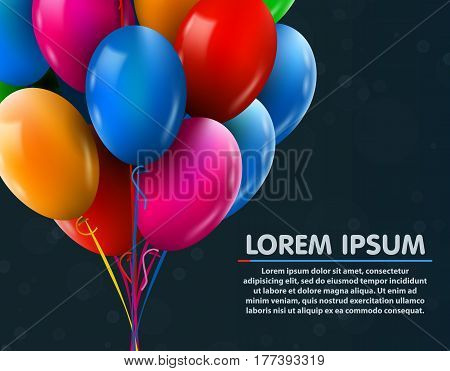 3d Realistic Colorful Bunch of Birthday Balloons Flying for Party and Celebrations With Space for Message. Vector Illustration