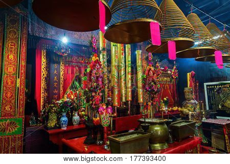 Interior View Of The Kwan Tai Temple In Tai O