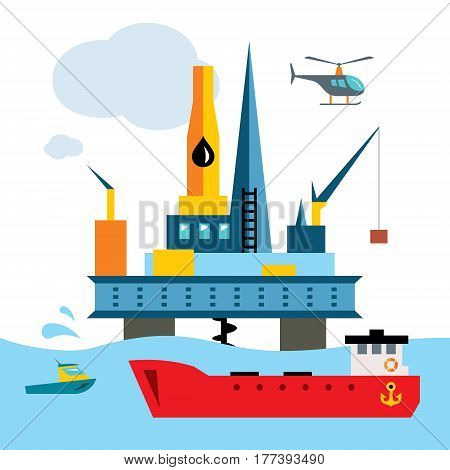 Extraction of fuel into the sea. Isolated on a white background