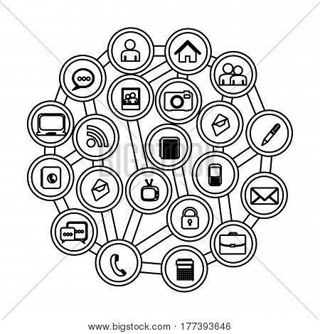 figure buttons apps connections techonology, vector illustration design