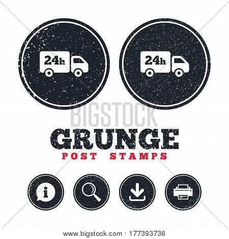 Grunge post stamps. 24 hours delivery service. Cargo truck symbol. Information, download and printer signs. Aged texture web buttons. Vector