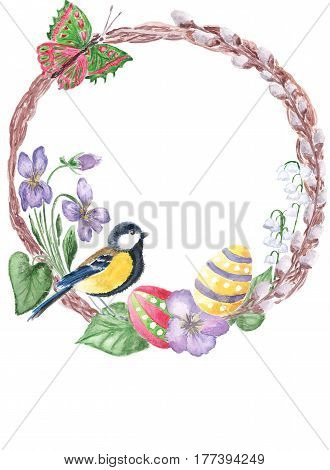 Watercolor spring floral Happy Easter wreath with blooming branches of pussy-willow violet lily of valley bird eggs butterfly. Hand drawn botanical easter decoration vintage watercolor illustration. Floral circle border. Vintage watercolor