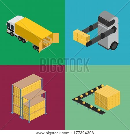 Warehouse logistics isometric icon set isolated vector illustration. Freight truck, boxes on shelves and warehouse robot icons. Freight automatic delivery, cargo transportation, logistics technology
