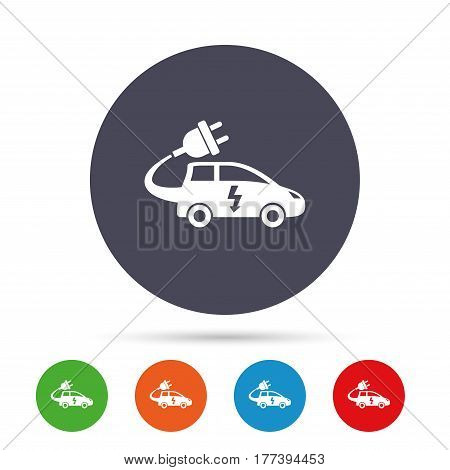 Electric car sign icon. Hatchback symbol. Electric vehicle transport. Round colourful buttons with flat icons. Vector