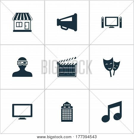 Vector Illustration Set Of Simple Film Icons. Elements Spectator, Grocery, Home Cinema And Other Synonyms Note, 3D And Decoration.