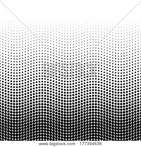 Halftone background of dots in wavy arrangement. Black-white bottom-top gradient. Abstract retro style vector wallpaper.