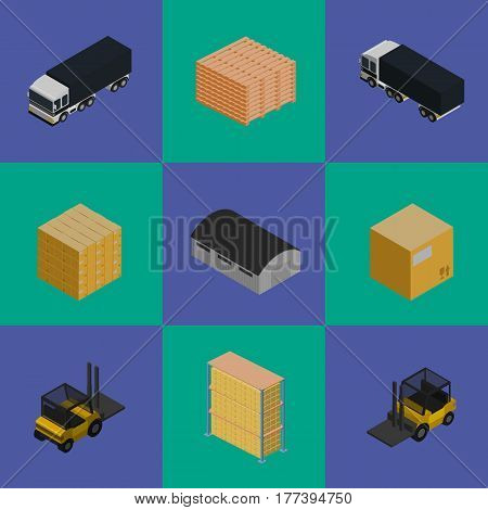 Delivery logistics and transportation isometric vector illustration. Commercial freight car, forklift truck, stack of packing boxes, warehouse building icons. Shipment logistics, delivery business