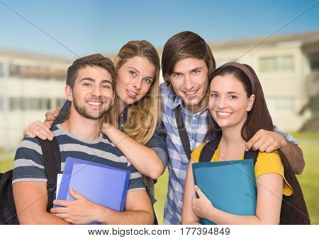 Digital composite of Portrait of Happy Students against a Bright background