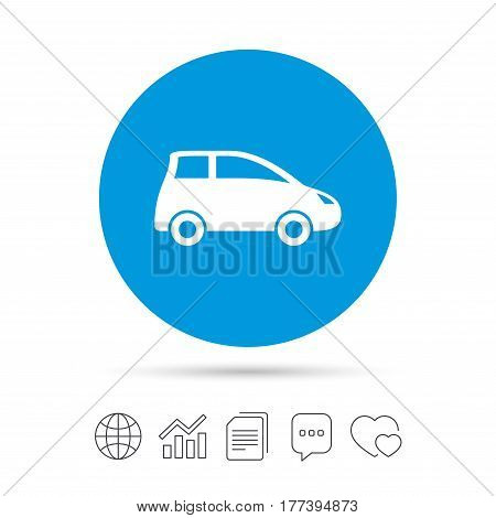 Car sign icon. Hatchback symbol. Transport. Copy files, chat speech bubble and chart web icons. Vector