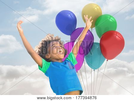Digital composite of Kid with Balloons has Happy Fun against a cloudy background