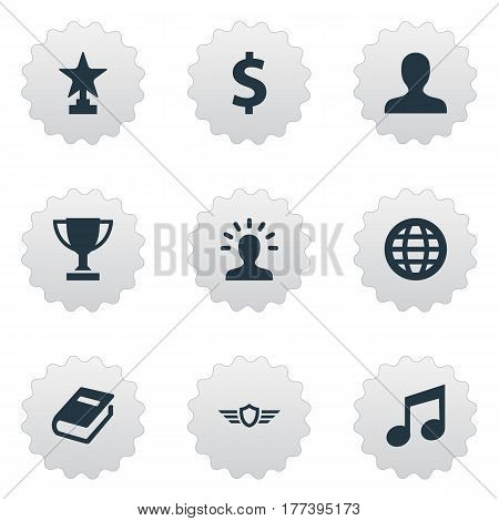 Vector Illustration Set Of Simple Achievement Icons. Elements User, Money, Literature And Other Synonyms Shield, Prize And Textbook.