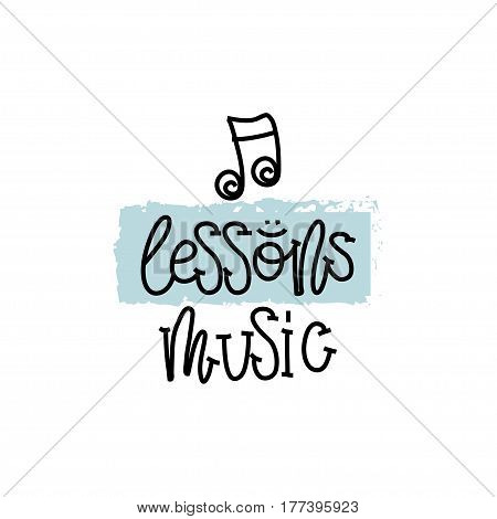 Education and Evaluation Concept. Hand writing logo lessons music on white paper. View from above. Vector illustration