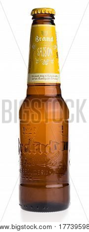 GRONINGEN, NETHERLANDS - MARCH 20, 2017: Bottle of Dutch Brand Saison beer isolated on a white background