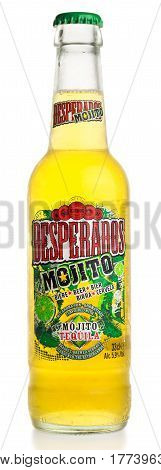 GRONINGEN, NETHERLANDS - MARCH 20, 2017: Bottle of Mexican Desperados Mojito beer isolated on a white background