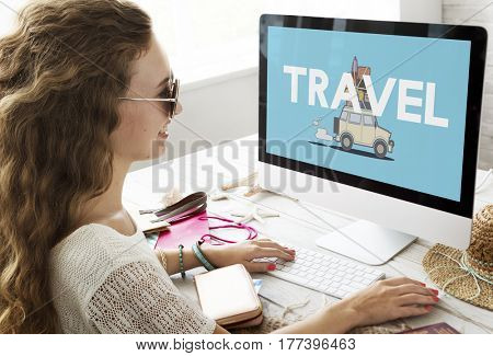 Illustration of discovery journey road trip traveling on computer