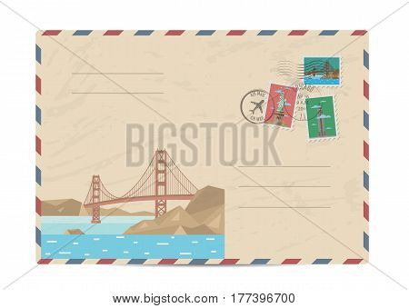 Golden Gate bridge, San Francisco, USA. Vintage postal envelope with famous architectural composition, postage stamps and postmarks on white background vector illustration. Airmail postal services.