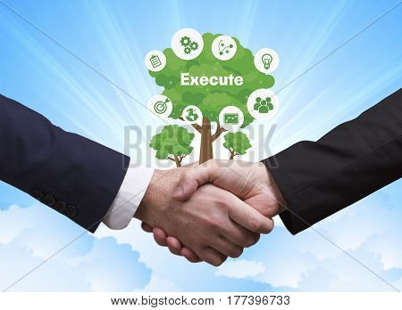 Technology, The Internet, Business And Network Concept. Businessmen Shake Hands: Execute