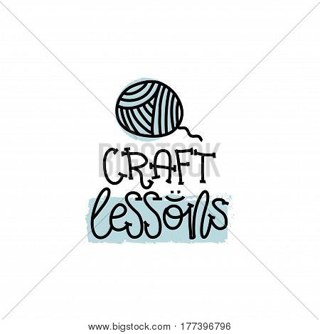 Education and Evaluation Concept. Hand writing logo lessons craft on white paper. View from above. Vector illustration