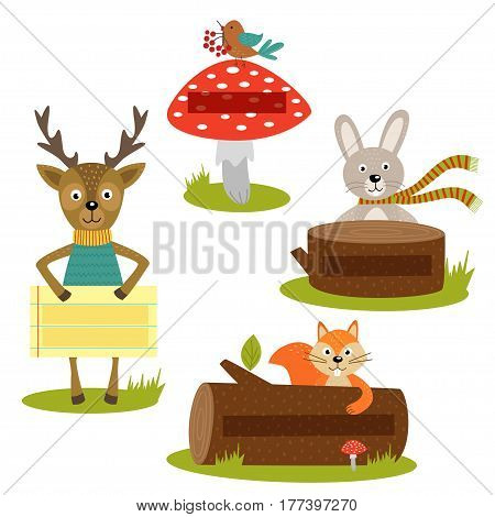 set of isolated forest animal with frame for your text part 2 - vector illustration, eps