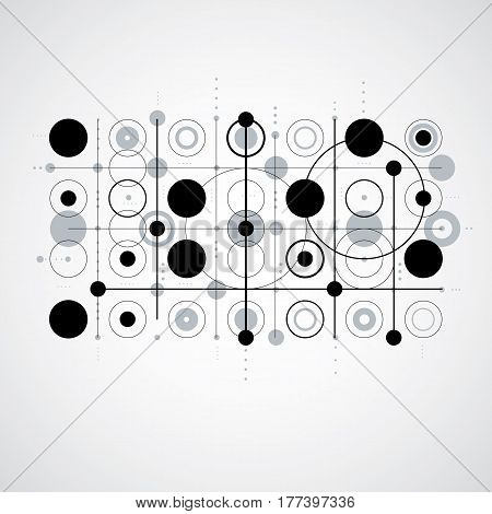 Bauhaus art composition decorative modular monochrome vector backdrop with circles and grid. Retro style pattern graphic backdrop for use as booklet cover template.