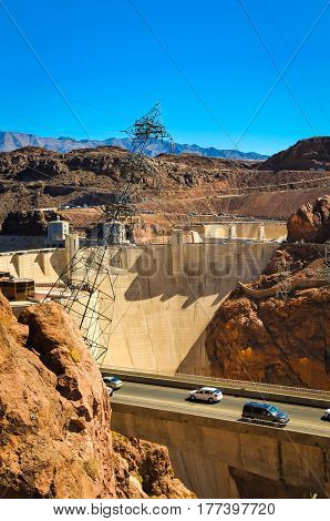 A road leading to the Hoover Dam