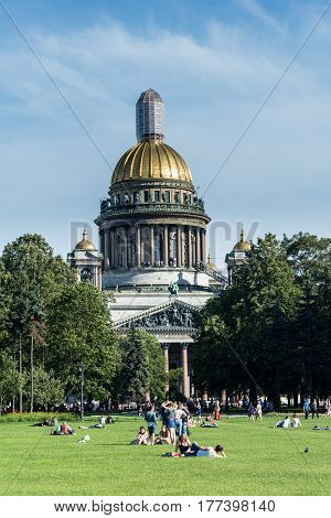 ST. PETERSBURG RUSSIA - JULY 14 2016: Saint Isaac's Cathedral in St. Petersburg Russia