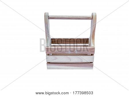 empty baskets made of wood used for packaging anything for gift. isolated on white background with clipping path.