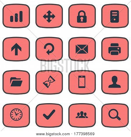 Vector Illustration Set Of Simple Apps Icons. Elements Message, Arrows, Computer Case And Other Synonyms Magnifier, Watch And Lock.