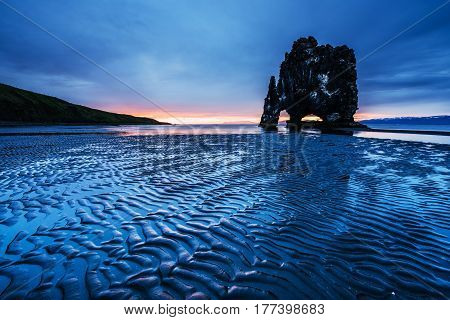 Hvitserkur 15 M Height. Is A Spectacular Rock In The Sea On The Northern Coast Of Iceland.  This Pho