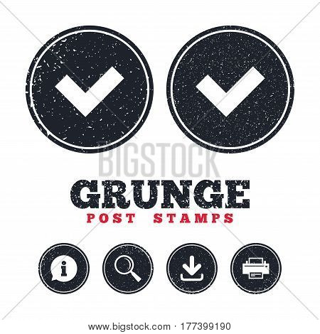 Grunge post stamps. Check sign icon. Yes button. Information, download and printer signs. Aged texture web buttons. Vector
