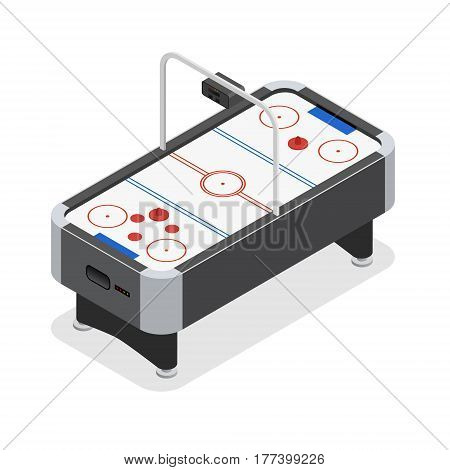Table Air Hockey Game Isometric View Hobby and Sport for Interior Design. Vector illustration