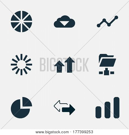 Vector Illustration Set Of Simple Data Icons. Elements Growth, Double Arrow, Digital Documnet And Other Synonyms Circular, Pie And Increase.
