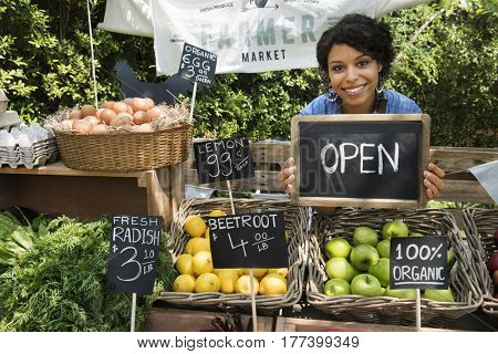 Woman Selling Fresh Local Vegetable From Farm at Market