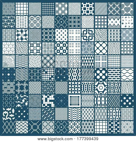 Set of vector endless geometric patterns composed with different figures like rhombuses squares and circles. Graphic ornamental tiles made in black and white colors.